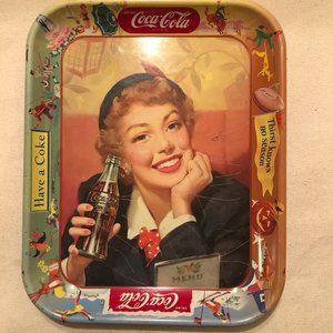 Vintage Coca-Cola Tray Menu Girl 1953